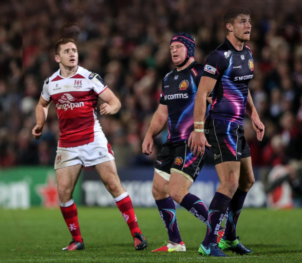 Late twist: Paddy Jackson looks on anxiously as his match winning drop goal kills off Exeter at the Kingspan