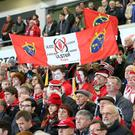 United in grief: One of a number of Munster flags in tribute to the late Anthony Foley in the Kingspan crowd during the victory over Exeter