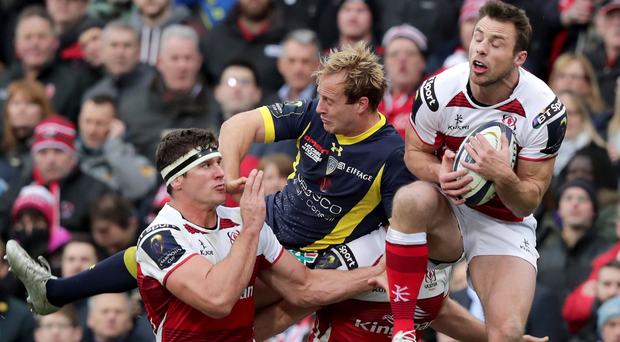 Crunch: Ulster's Tommy Bowe gathers the ball ahead of Clermont's Nick Abendanon last Saturday at the Kingspan