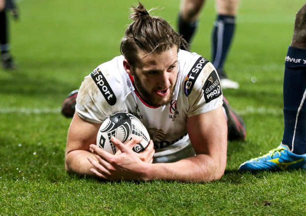 Going over: Ulster's Stuart McCloskey is sure of victory in Exeter