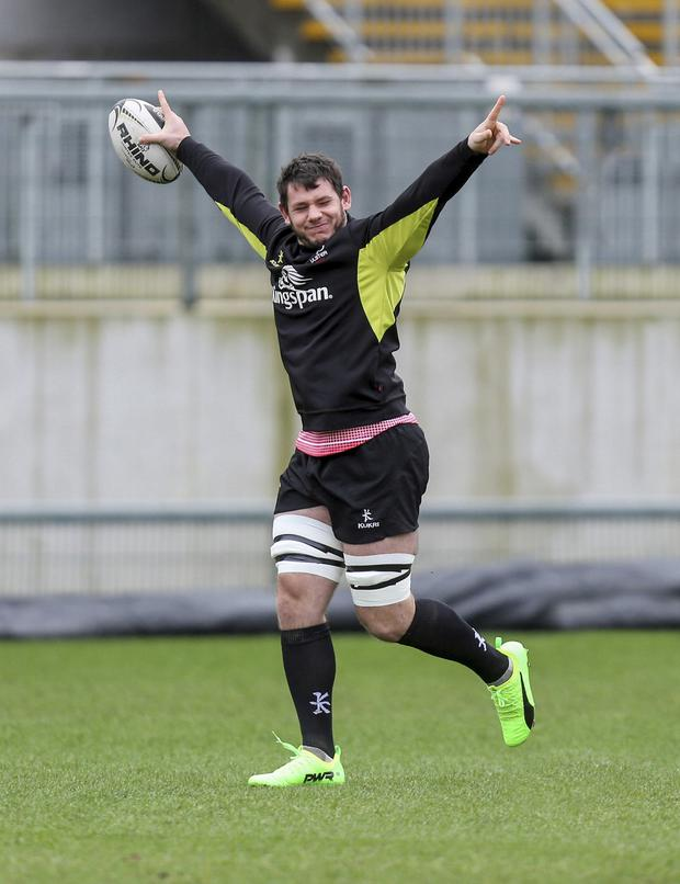 Raring to go: Marcell Coetzee in Ulster captain's run at Kingspan yesterday