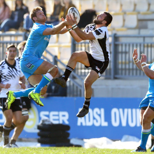 Up and away: Ulster's Chris Henry battles with Guglielmo Palazzani of Zebre