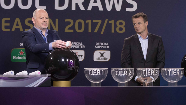 Big draw: Ieuan Evans and Austin Healey conduct the European Champions Cup draw, in which Ulster were paired with Wasps, La Rochelle and Harlequins
