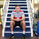 Stocks and stairs: Jacob Stockdale at the Sports Centre at Jordanstown ahead of tonight's European clash with Harlequins