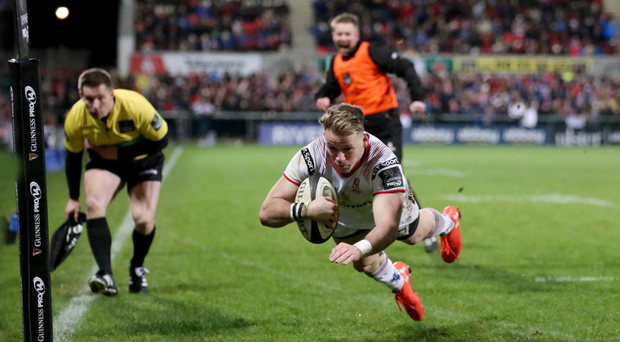 Stirring finish: Ulster's Craig Gilroy crosses for his second try to level the scores