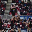 Must do better: Iain Henderson (right), in Euro action against Harlequins last month, admits Ulster have to up their game at Kingspan today