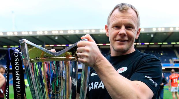 Familiar faces: Saracens director of rugby Mark McCall celebrates after the European Champions Cup Final in 2017