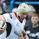 Taken down: Ulster ace Luke Marshall in action against Cardiff last season