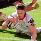 Take that: Angus Kernohan bags his first competitive Ulster try