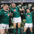 New high: Tadhg Furlong, Rory Best and Cian Healy celebrate win over All Blacks