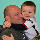 Proud dad: Rory Best with his son Richie yesterday