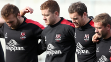 Raring to go: Paddy Jackson, Darren Cave and Paul Marshall get ready for Munster at yesterday's Captain's Run