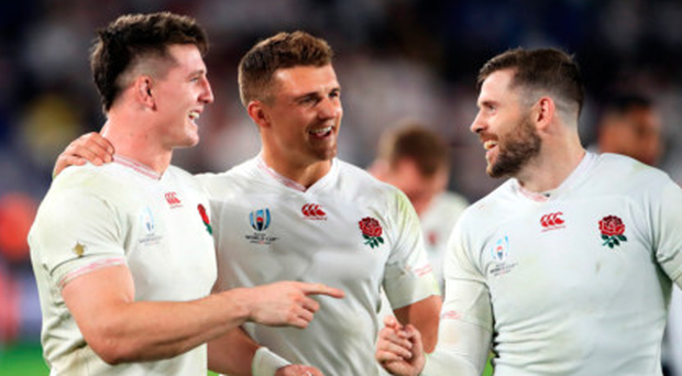 All good: England's Tom Curry, Henry Slade and Elliot Daly celebrate after beating New Zealand and they should be partying again this weekend
