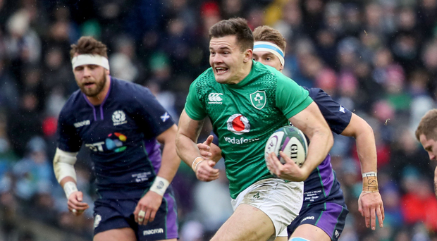 Play it again: Ulsterman Jacob Stockdale races in for a try in Ireland's 22-13 win over Scotland, Sunday's opening World Cup opponents, at Murrayfield in February in Six Nations