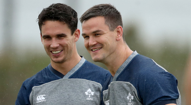 Role reversal: Joey Carbery (left) and Johnny Sexton