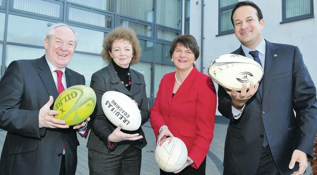 World bid: Ministers met in Armagh yesterday to discuss how best to take proposals for Ireland's Rugby World Cup bid for 2023 forward. Pictured (L-R) are Michael Ring TD, Sports Minister Carál Ní Chulín, Enterprise Minister Arlene Foster and Leo Varadkar TD