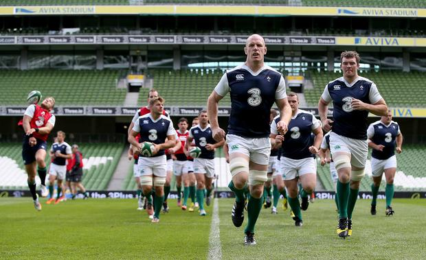 Leader of the pack: Paul O'Connell at the Captain's Run yesterday in the Aviva stadium