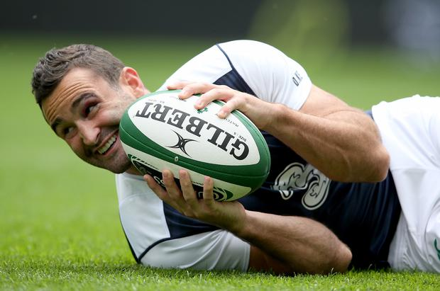 Having a ball: Dave Kearney at yesterday's Captain's Run at the Aviva Stadium ahead of today's showdown with Wales