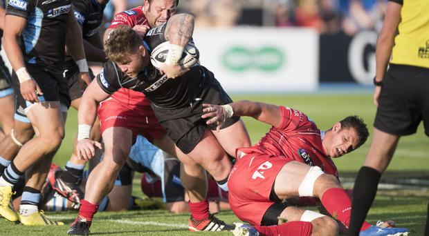In the thick of battle: Kevin Bryce, pictured playing for Glasgow in the PRO12, is a late replacement in the Scottish squad