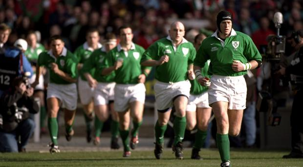 Leading by example: Ireland captain Paddy Johns and his team run out at Wembley against Wales back in 1999