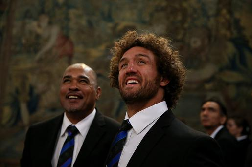 Namibian Captain Jacques Burger looks on during a tour of Hampton Court Palace at the RWC 2015 Welcome Ceremony for Namibia