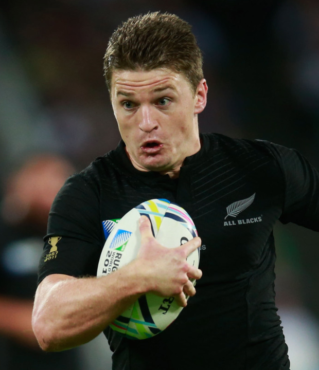 On the charge: Beauden Barrett races to the fourth try