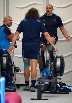 Easy rider: Sergio Parisse takes part in an Italy training session at Cobham ahead of Sunday's clash with Ireland