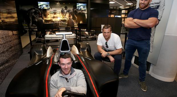 Road to glory: Peter O'Mahony, Jamie Heaslip and Sean O'Brien at Ireland's Down Day at Mercedes-Benz World at Weybridge, Surrey yesterday