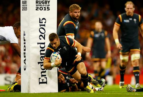 Full steam ahead: Gareth Davies scores a try for Wales