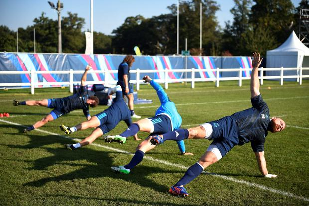 Shaping up: Italian players go through their paces before tomorrow's game with Ireland