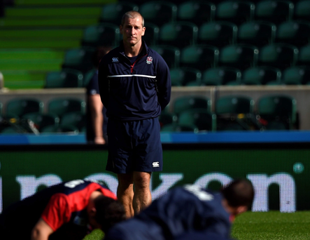 Only way is up: Stuart Lancaster oversees England's training session at Twickenham yesterday