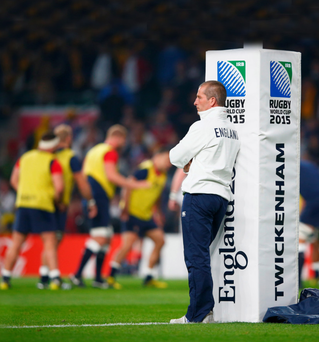 Down and out: Stuart Lancaster may pay the ultimate price after England crashed out of the World Cup