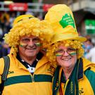 Australia fans wearing yellow wigs and hats before the World Cup match at Twickenham Stadium