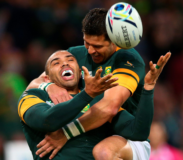 Try: Bryan Habana celebrates his record-equalling hat-trick