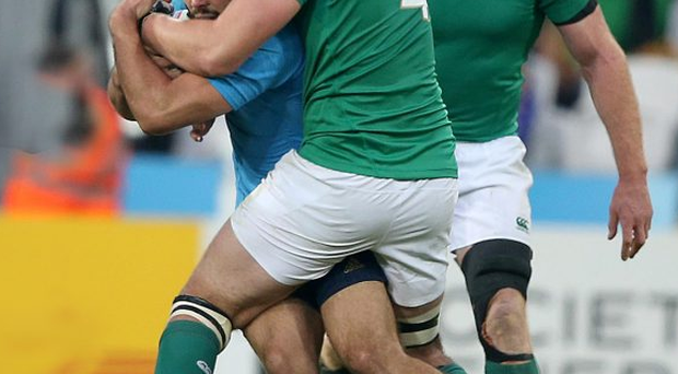 Close attention: Iain Henderson produced another eye-catching display in his man of the match performance against Italy