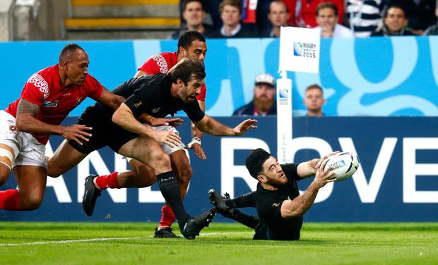 Over you go: Nehe Milner-Skudder scores the fourth try for the Kiwis at St James' Park