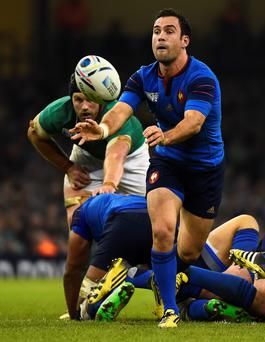 France's scrum half Morgan Parra passes the ball during a Pool D match of the 2015 Rugby World Cup between France and Ireland at the Millennium Stadium in Cardiff