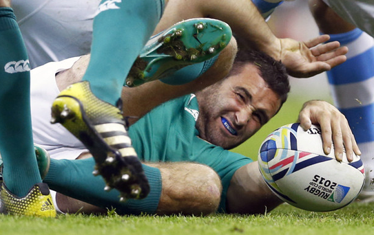 Floored: Dave Kearney struggled to find the answers for Ireland's World Cup defeat by Argentina