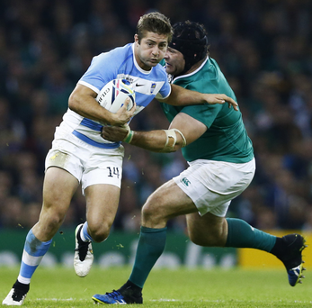 Out of luck: Mike Ross in action against the Pumas
