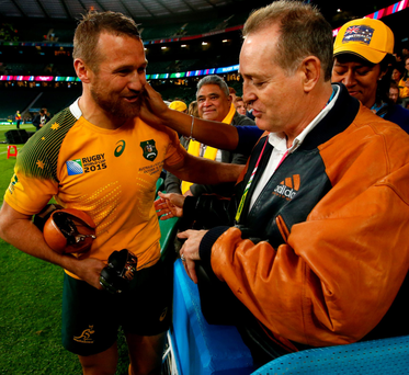Exile's return: man of the match against Scotland, Matt Giteau (left), with Aussie great David Campese