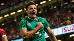 On the plane: Jacob Stockdale is going to Japan