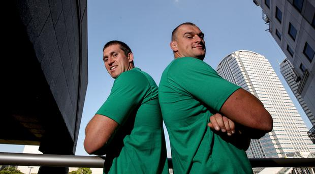 Family affair: Ciaran (far left) and Rhys Ruddock have differing roles in the Irish camp