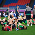 Limbering up: Ireland go through their paces in Yokahama