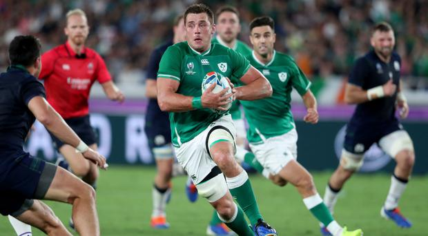 Running man: CJ Stander on the charge against Scotland