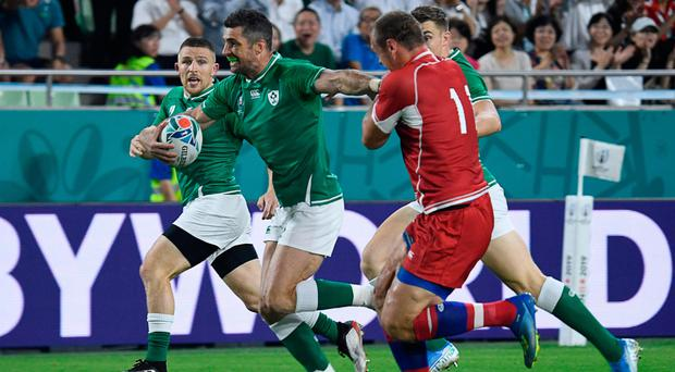 All action: Ireland's full back Rob Kearney scores a try during the Pool A match against Russia at the Kobe Misaki Stadium