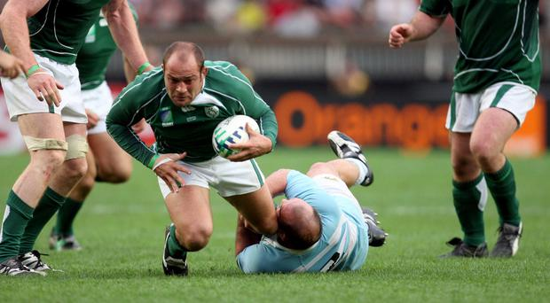 Flashback: Rory Best is stopped in his tracks by Argentina's Mario Ledesma Arocena at the 2007 World Cup