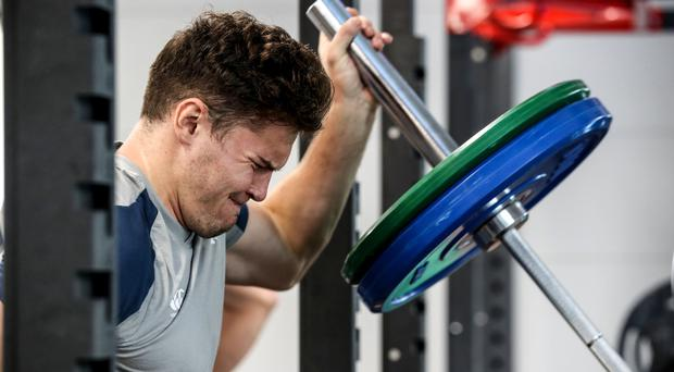 Pushing on: Jacob Stockdale during a gym session in Japan