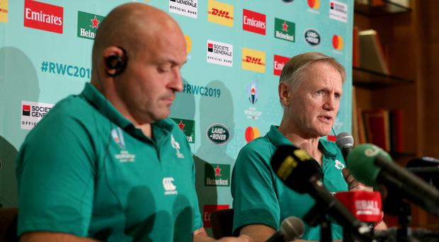 Pressing concerns: Ireland head coach Joe Schmidt and captain Rory Best face the media yesterday