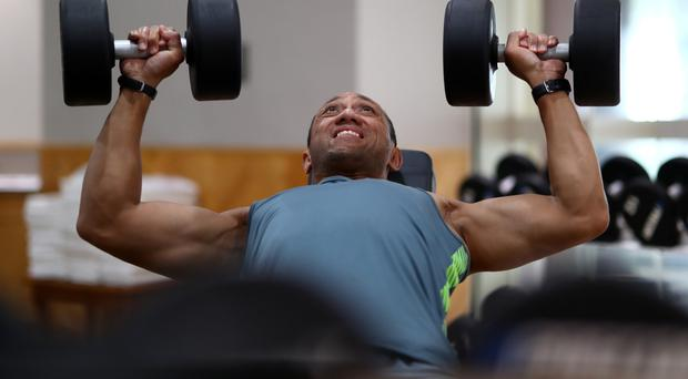 Powerhouse: Australia's former Ulster player Christian Leali'ifano puts in a tough session in the gym