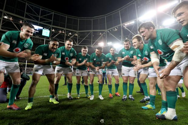 Believe: Ireland celebrate their victory over New Zealand last year